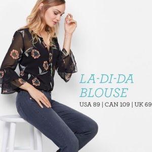 CAbi #5206 sheer la-di-da floral blouse sz Small